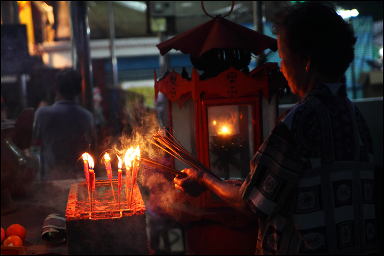 lighting joss sticks