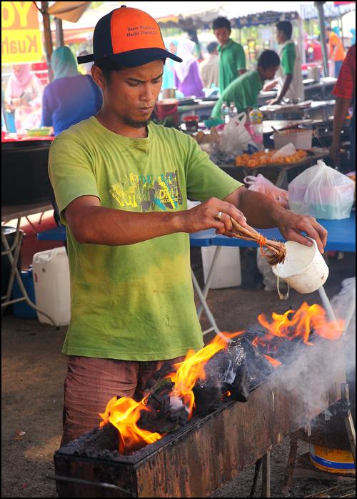 preparing charcoal stove