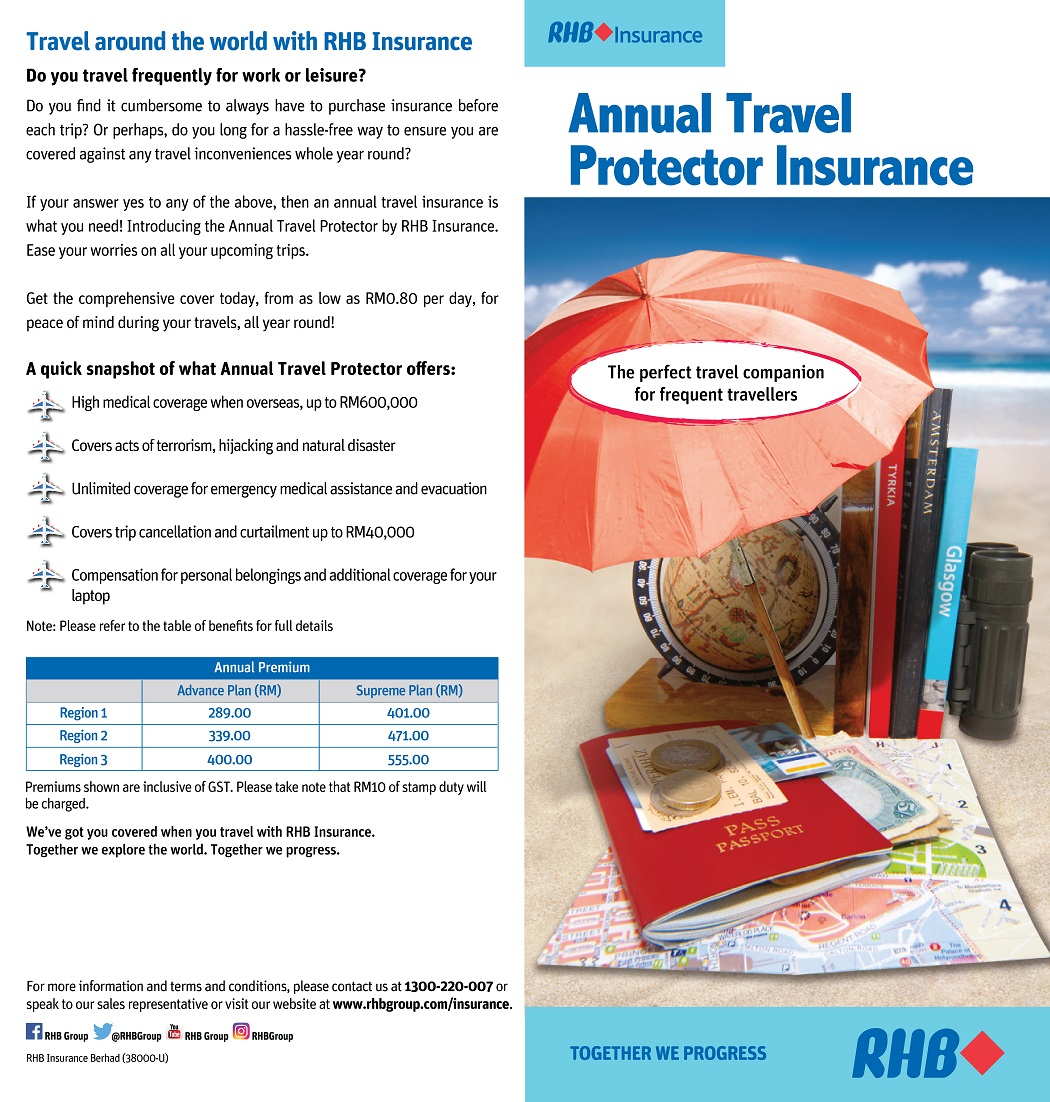 RHB's Enhanced Annual Travel Protector leaflet front